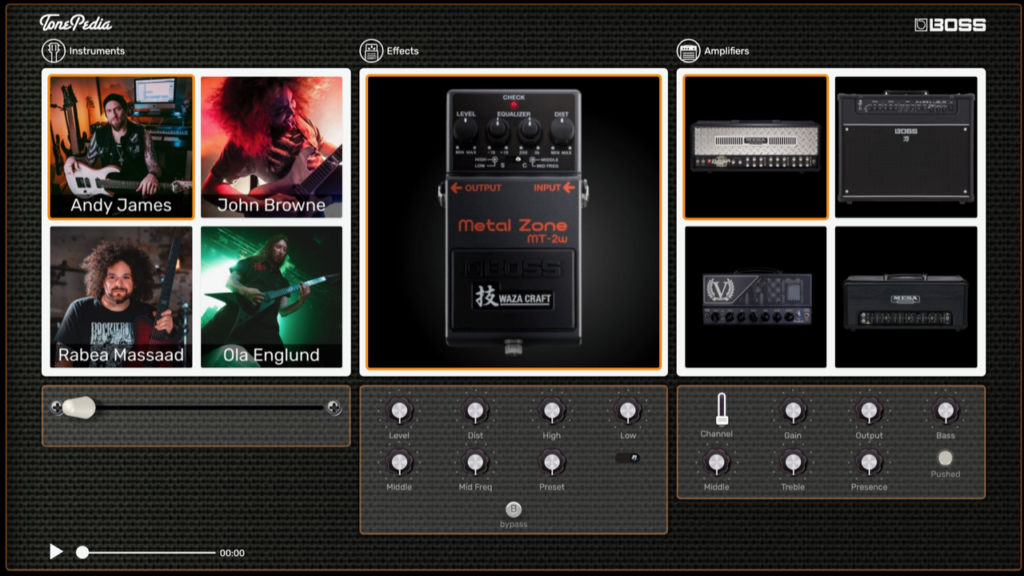 Roland Boss TonePedia Audio Player